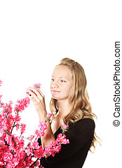 ragazza, con, fiori dentellare