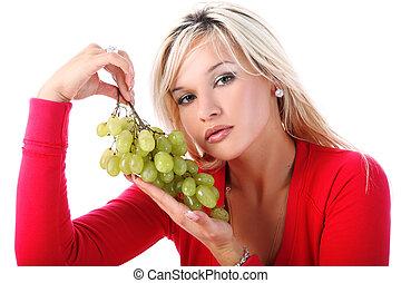 ragazza, con, fresco, uva, isolato, bianco