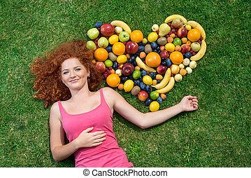 ragazza, con, frutta