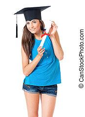 ragazza, con, graduazione, cappello