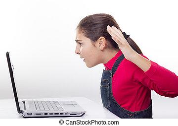 ragazza, con, laptop