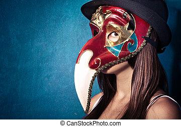 ragazza, con, maschera veneziana