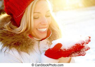 ragazza, con, neve