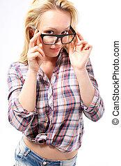 ragazza, con, occhiali