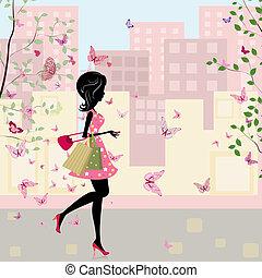 ragazza, con, shopping, in, il, primavera