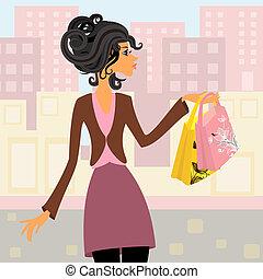 ragazza, con, shopping