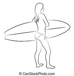 ragazza, con, surfboard