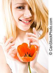 ragazza, con, tulipano