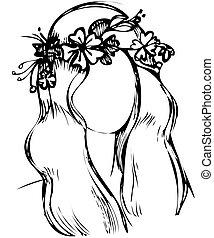 ragazza, con, uno, ghirlanda, di, fiori selvaggi, testa