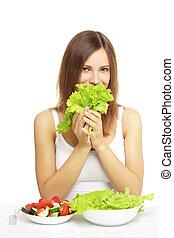 ragazza, con, verdura, insalata