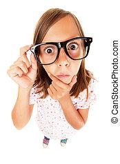 ragazza, confuso, nerd