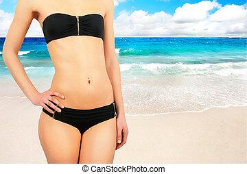 ragazza, contro, spiaggia tropicale