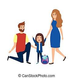 ragazza, coppia, insegnanti, studente, felice