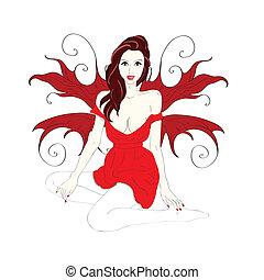 ragazza, corto, vestire, ali, rosso