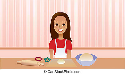 ragazza, cucina