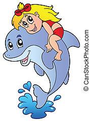 ragazza, delfino, seduta