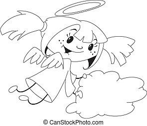 ragazza, delineato, angelo