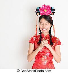 ragazza, desiderando, asiatico, cinese