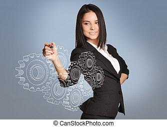 ragazza, disegnare, uno, ingranaggio, in, il, virtuale, space., lavoro squadra, concetto