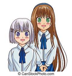 ragazza, disegno, manga, cartone animato