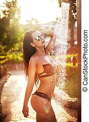 ragazza, doccia, bikini, spiaggia, presa, sexy