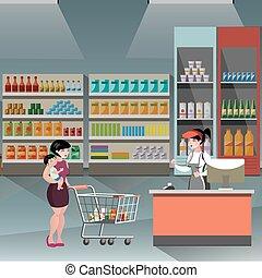 ragazza, donna, supermercato, casher