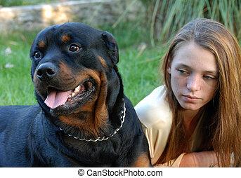ragazza, e, pericoloso, cane