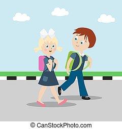 ragazza, e, ragazzo, con, zaini, o, cartelle, ara, andare, a, school., soddisfatto, bambini, su, uno, giorno pieno sole, su, uno, verde, lawn., cartone animato, carattere, in, appartamento, style., vettore, illustrazione, eps10.
