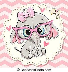 ragazza, elefante, carino, occhiali, rosa