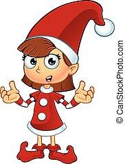 ragazza, elfo, in, rosso, carattere