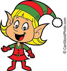 ragazza, elfo, natale