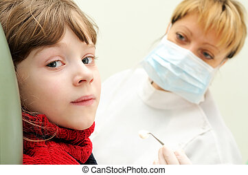 ragazza, esame, dentista