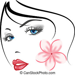 ragazza, faccia, bellezza