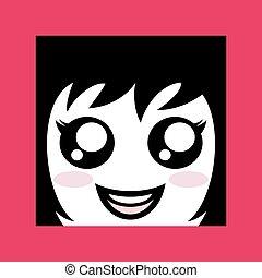 ragazza, faccia, disegnare, carino, icona