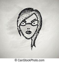 ragazza, faccia, icona