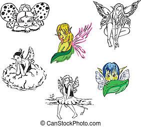 ragazza, fairies., vettore, set