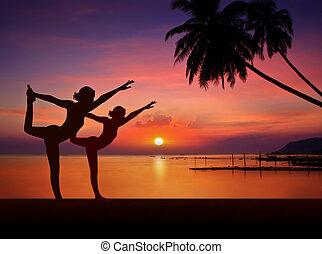 ragazza, fare, yoga