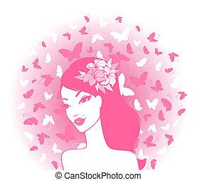 ragazza, farfalle