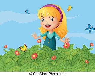 ragazza, farfalle, giardino
