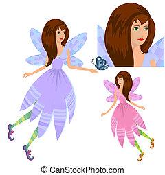 ragazza, fata, con, farfalla