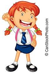 ragazza, felice, uniform scuola