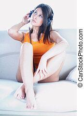 ragazza, fine, cuffie, sexy