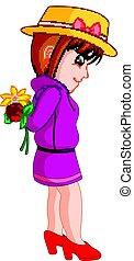 ragazza, fiore, cartone animato