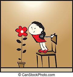 ragazza, fiore