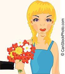 ragazza, fiore, presente
