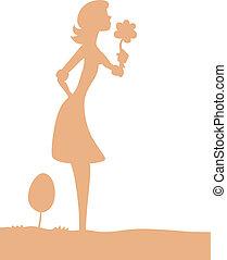 ragazza, fiore, silhouette, carino