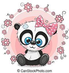 ragazza, fiori, cartolina auguri, panda