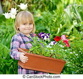 ragazza, fiori
