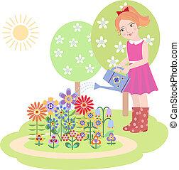 ragazza, fiori innaffiamento