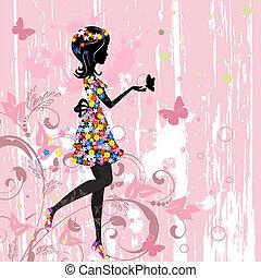 ragazza, fiori, modello